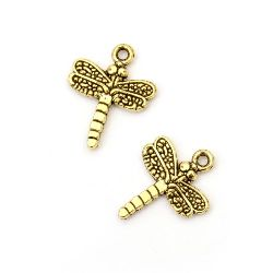 Pendant metal seahorse 20x16x3 mm hole 2 mm color old gold -10 pieces