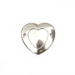 Element de conectare metal oțel inimă 24x22,5x2 mm orificiu 2 mm culoare argintiu -5 bucăți