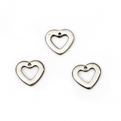 Висулка стомана сърце 11x10x1 мм дупка 1 мм цвят сребро -5 броя