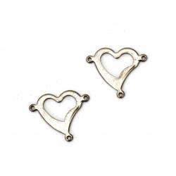 Element de legătură metal oțel inimă 17x20x1 mm gaură 1 mm culoare argintiu -5 bucăți