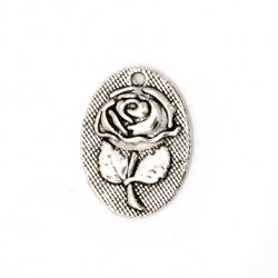 Висулка метал овал с роза 18x14x3 мм дупка 1 мм старо сребро - 10 броя