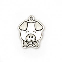 Metal pendant  pig 20x16x2.5 mm hole 1 mm color silver -5 pieces