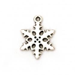 Висулка метална снежинка 20x15x2 мм дупка 1 мм цвят сребро -2 броя