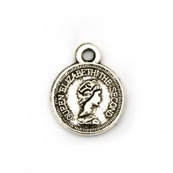 Висулка метал паричка 10 мм дупка 1.5 мм цвят сребро -10 броя