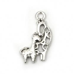 Висулка метална жирафи 20x12x2.5 мм дупка 2 мм цвят старо сребро -10 брой
