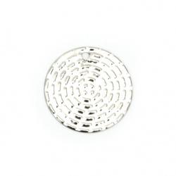 Висулка метална паричка 10x0.5 мм дупка 0.5 мм цвят сребро -20 броя