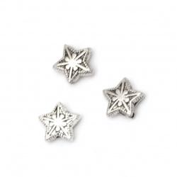Мънисто метал звезда 9.5x10.5x4 мм дупка 1 мм цвят старо сребро -20 броя
