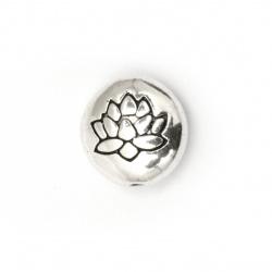 Мънисто метал паричка 14x6.5 мм дупка 1 мм цвят старо сребро -5 броя