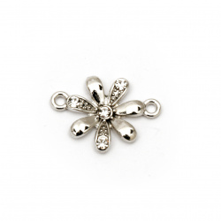 Свързващ елемент метал с кристали цвете 11x15x2.5 мм дупка 1.5 мм сребро -2 броя