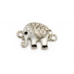 Element de conectare metal cu cristale alb elefant 24x16x5 mm orificiu 2 mm culoare argintiu -2 bucăți