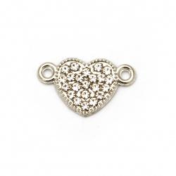 Element de legătură metalic cu cristale inimă gaură de 19x12x2 mm 1,5 mm culoare argintiu -2 bucăți