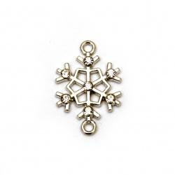 Свързващ елемент метал с кристали снежинка 24x16x3 мм дупка 1.5 мм цвят сребро -2 броя