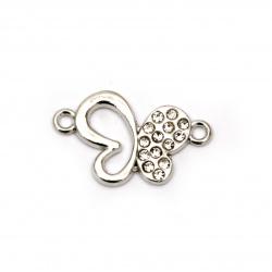 Свързващ елемент метал с кристали пеперуда 28x15x2 мм дупка 1.5 мм цвят сребро -2 броя
