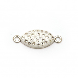 White ellipse connecting element metal with crystals   26x10x4 mm hole 1.5 mm color silver - 2 pieces