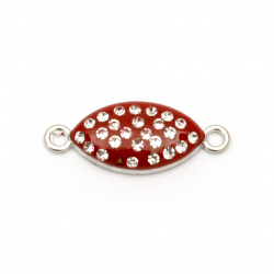 Connecting metal element with crystals, red ellipse 26x10x4 mm hole 1.5 mm color silver - 2 pieces