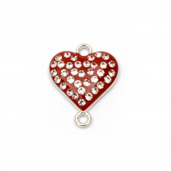Red connecting metal element with crystals, heart shaped 20x16x4 mm hole 1.5 mm color silver - 2 pieces