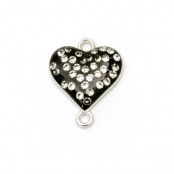 Colored metal connecting element,  black heart with small crystals 20x16x4 mm hole 1.5 mm color silver - 2 pieces