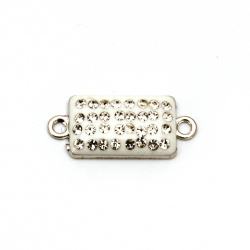 Metal connecting element with crystals,  white tile 25x11x4 mm hole 1.5 mm color silver - 2 pieces