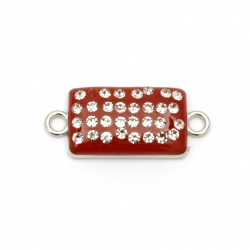 Painted metal connecting element with crystals, red tile  25x11x4 mm hole 1.5 mm color silver - 2 pieces