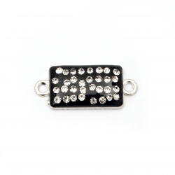 Dyed metal connecting element with crystals, black tile 25x11x4 mm hole 1.5 mm color silver - 2 pieces