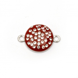 Painted red circle metal connecting element  with crystals 22x15.5x4.5 mm hole 1.5 mm color silver - 2 pieces