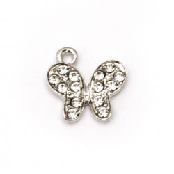Pandantiv din metal cu cristale fluture 19x18x2 mm gaură 1,5 mm culoare argintiu - 2 bucăți