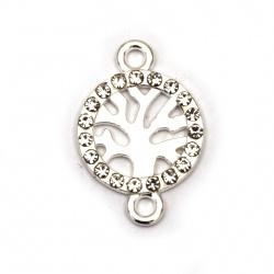 Свързващ елемент метал с кристали дървото на живота 21x14x2 мм дупка 2 мм цвят сребро - 2 броя