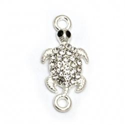 Свързващ елемент метал с кристали костенурка 26x13x3 мм дупка 2 мм цвят сребро -2 броя