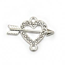 Свързващ елемент метал с кристали сърце 24x18x2.5 мм дупка 2 мм цвят сребро -2 броя