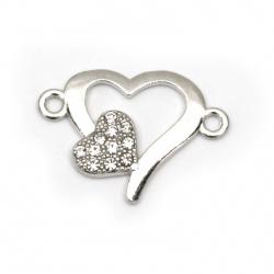 Свързващ елемент метал с кристали сърце 23x17x2.5 мм дупка 2 мм цвят сребро -5 броя