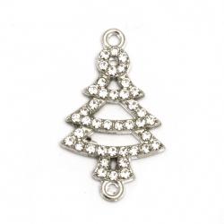 Свързващ елемент метал с кристали елха 29x17.5x2 мм дупка 2 мм цвят сребро -2 броя