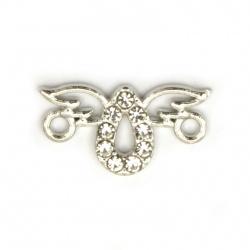 Свързващ елемент метал с кристали ангел 16.5x9x2 мм дупка 2 мм цвят сребро -5 броя