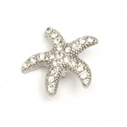 Element de legătură metalic cu cristale de stea de mare 19x20x6,5 mm gaură 2 mm culoare argintiu -2 bucăți