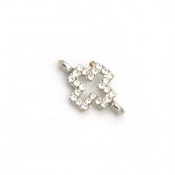 Свързващ елемент метал с кристали кръст 15x9x3.5 мм дупка 1.5 мм цвят сребро -5 броя