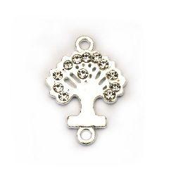 Свързващ елемент метал с кристали дървото на живота 19x12x2 мм дупка 1.5 мм цвят сребро -2 броя