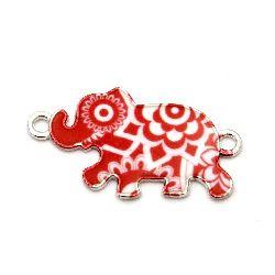 Свързващ елемент метал слон бяло и червено 28x16 мм цвят сребро -2 броя