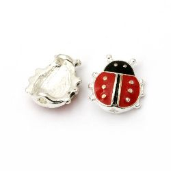 Metal ladybug red bead 11x10.5 mm hole 1 mm color silver - 2 pieces