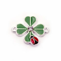 Connecting element metal with crystal clover green with ladybug 23x20 mm color white -2 pieces