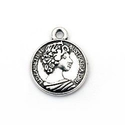 Висулка метал паричка 20x16x2.5 мм дупка 1.5 мм цвят сребро -5 броя