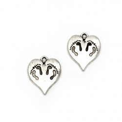 Висулка метал сърце с крачета 21x18x2.5 мм дупка 1.5 мм цвят сребро -5 броя