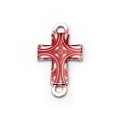 Свързващ елемент метал кръст 25x15x3 мм дупка 2 мм бяло и червено -2 броя