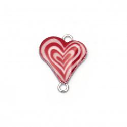 Element de legătură inimă metalică 23x18x3 mm orificiu 2 mm alb și roșu-2 bucăți