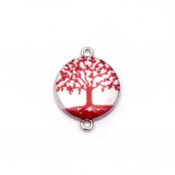 Element de fixare copac metalic al vieții 24x18,5x3,5 mm gaură 2 mm alb și roșu-2 bucăți