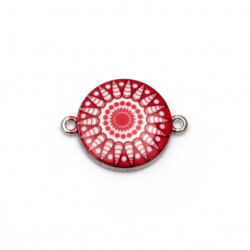 Свързващ елемент метал 24x18.5x3.5 мм дупка 2 мм бяло и червено-2 броя