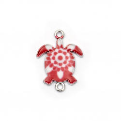 Свързващ елемент метал костенурка 24x18x2 мм дупка 2 мм бяло и червено -2 броя