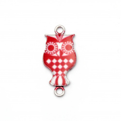 Connecting element metal owl 16x12x2 mm hole 2 mm white and red - 2 pieces