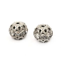 Metal ball with sparkling crystals for jewelry making 10 mm hole 1 mm color silver - 5 pieces