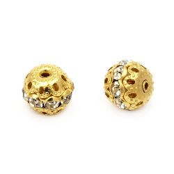 Metal ball bead with sheeny crystals 10 mm hole 1 mm gold color  - 5 pieces