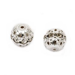 Metal round bead with small crystals 12 mm hole 1 mm color white - 5 pieces