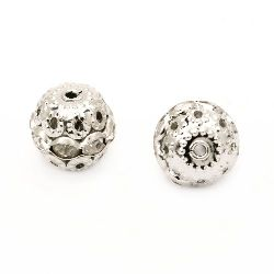 Metal round bead with tiny rhinestones 12 mm hole 1 mm color silver -  5 pieces
